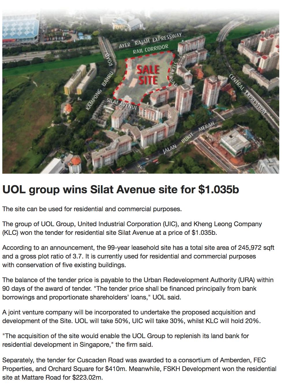 UOL Wins Silat Avenue Site
